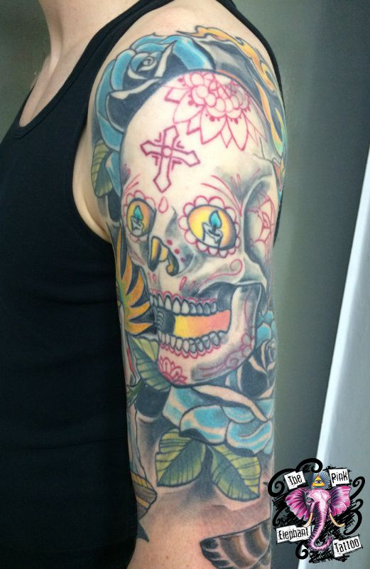 The Pink-Elephant Tattoo - Neotraditional Sugar Skull